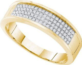 0.25 Carat (ctw) 10K Yellow Gold Round White Diamond Micro Pave Men's Wedding Band 1/4 CT Jewelry