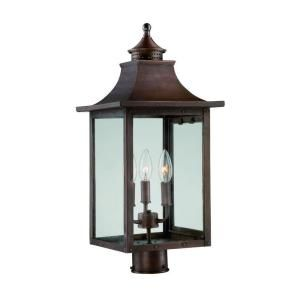 Acclaim Lighting St. Charles Collection 3 Light Outdoor Copper Pantina Post Light Fixture 8317CP