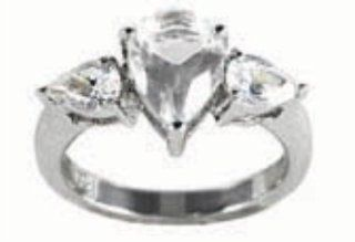 0.4 Inch Clear 3 Pear Detail High Quality Cubic Zirconia Size 7 Ring Teeda Jewelry