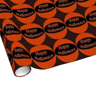 Happy Halloween Orange Black Gift Wrapping Paper