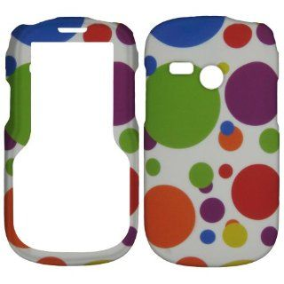 White Multi Big Color Dot Net10 Tracfone Lg501c Lg 501c 501 Faceplate Rubberized Snap on Hard Phone Cover Case Protector Accessory Cell Phones & Accessories