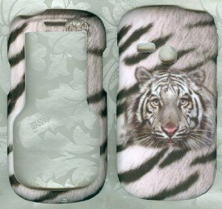 White Tiger Net10 Tracfone Lg501c Lg 501c 501 Faceplate Rubberized Snap on Hard Phone Cover Case Protector Accessory Cell Phones & Accessories