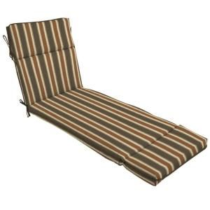 Hampton Bay Scottsdale Stripe Outdoor Chaise Lounge Cushion FD05202A 9D1