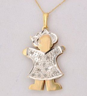 14K Two Tone Gold Diamond Girl Pendant Jewelry