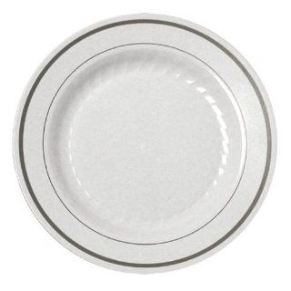 "Fineline Silver Splendor 506WH White 6"" Plastic Plate with Silver Bands   15 / Pack   Disposable Plates"