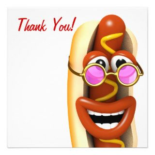 Thank You Cool Hippy Hot Dog Personalized Invites