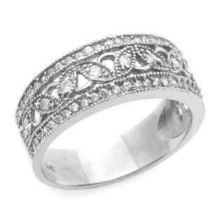 14K Engagement Ring 0.2ctw CZ Cubic Zirconia Filigree Band White Gold Ring Jewelry