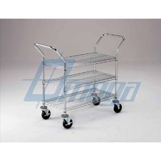 "18"" Deep x 18"" Long x 39"" High Wire 3 Shelf Medium Duty Cart 800lb capacity Wheels 5"" Rubber Caster Kit Threaded Stem Additional Dimensions Overall Width 27.5"", Handle to Handle. Max Height Between Top and Bottom Shelf 22"""
