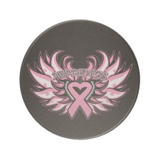 Breast Cancer Awareness Heart Wings Beverage Coasters