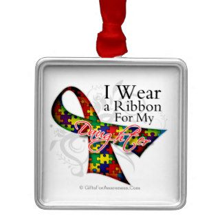 I Wear a Ribbon For My Daughter   Autism Awareness Ornaments