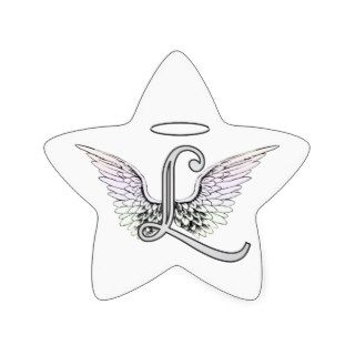 Letter L Initial Monogram with Angel Wings & Halo Star Stickers