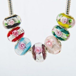 Beautiful Murano Glass Beads a Set of 7 Rainbow Color Rose Garden Roses (Symbol of Love and Beauty) Silver Foil Fit Pandora Chamilia Biagi and Other European Bracelets and Necklaces   Our Exclusives and Special Edition for Happy Valentine's Day Jewel