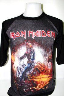 Iron Maiden Heavy Metal Rock Band Tour 3/4 Baseball Jersey T shirt Size M