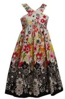 Size 10 BNJ 3408M BLACK WHITE MULTICOLOR 'Positive Negative' DUAL FRONT BACK FLORAL PRINT Spring Summer Party Dress, M43408 Bonnie Jean TWEEN GIRLS Clothing