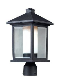 Z Lite 523PHM Mesa Outdoor Post Light, Aluminum Frame, Black Finish and Clear Beveled and Matte Opal Shade of Glass Material