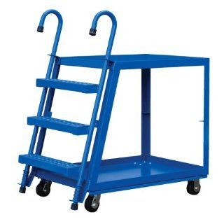 "Vestil SPS2 2848 Steel Service Cart with Step Ladder, 2 Shelves, Blue, 1000 lbs Load Capacity, 35 5/8"" Height, 48"" Length x 28"" Width"