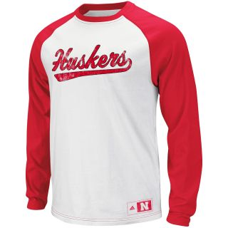 adidas Youth Nebraska Cornhuskers Raglan Crew Long Sleeve Shirt   Size Large,