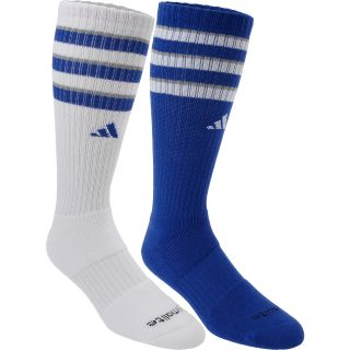 adidas Kids Team Crew Socks   2 Pack   Size Small, Blue/white