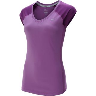 NIKE Womens Miler V Neck Cap Sleeve Running T Shirt   Size Small, Violet/grape