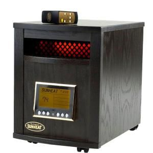 SUNHEAT 17.5 in. 1500 Watt Infrared Electric Portable Heater with Remote Control and Cabinetry   Black DISCONTINUED SH 1500RC Black