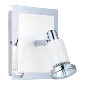 Eglo Eridan 1 Light Surface Mount Wall Chrome and Glossy White Light with On/Off Switch 200096A