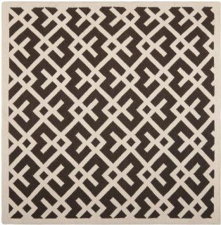 Safavieh Dhurrie Collection DHU552C 8SQ Handmade Wool Square Area Rug, 8 Feet, Brown/Ivory