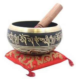 Tibetan Extra Large Heavy Meditation Om Mani Padme Hum Singing Bowl With Mallet and Silk Cushion Musical Instruments