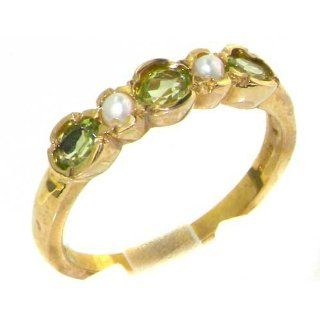 Luxury Solid English Yellow 9K Gold Ladies Peridot & Pearl Contemporary Style Eternity Band Ring   Finger Sizes 5 to 12 Available Jewelry