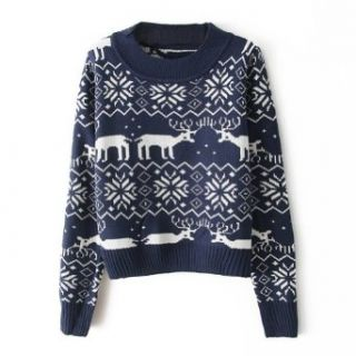 ZLYC Women's Cute Deer Print Round Collar Long Sleeve Pullover Short Sweater (navy blue) Christmas Sweater