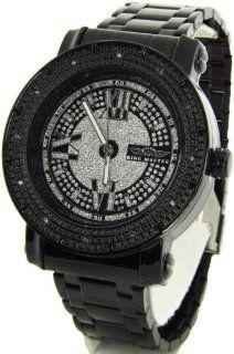 Mens King Master Genuine Diamond Watch Black Case Metal Band w/ 2 Interchangeable Watch Bands #KM 553 King Master Watches