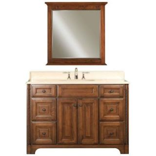 Water Creation Spain 48 in. Vanity in Classic Golden Straw with Marble Vanity Top in Sahara and Matching Mirror SPAIN 48C