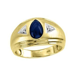Mens Blue Star Sapphire & Diamond Ring 14K Yellow Gold Jewelry