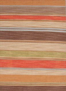 Jaipur Flat Weave Stripe Pattern Multi Color Wool Handmade Rug   PV22 Area Rugs