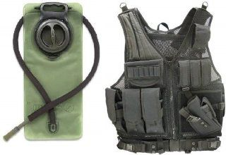 GMG Global Military Gear Stealth Black Tactical Scenario Military Hunting Assault Vest w/ Right Handed Quick Draw Pistol Holster and Heavy Duty Mag Pouch Belt + OD Olive Drab Green 2.5 Liter / 84 oz. Replacement Hydration Backpack Water Bladder Reservoir
