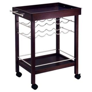 Winsome Wood 10 Bottle Espresso Wine Cart DISCONTINUED 92329