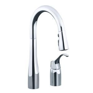 KOHLER Simplice Single Handle Pull Down Sprayer Kitchen Faucet in Polished Chrome K 649 CP