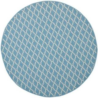 Safavieh Courtyard Blue/Beige 7.8 ft. x 7.8 ft. Round Area Rug CY6919 243 8R