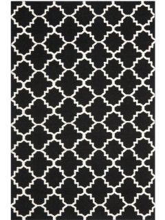 Safavieh Dhurrie Collection DHU554L 5 Handmade Wool Area Rug, 5 by 8 Feet, Black/Ivory
