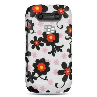 VMG BlackBerry Torch 9850/9860   Black/Pink Daisy Design Hard Case + Screen P Cell Phones & Accessories