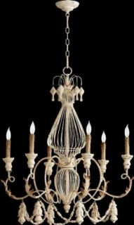 Quorum 6306 6 70 Salento   Six Light Cage Chandelier, Persian White Finish