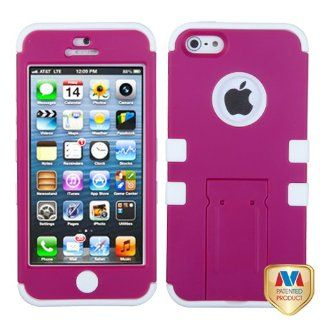 Apple iPhone 5 Hard Plastic Snap on Cover Rubberized Solid Hot Pink/Solid White TUFF Hybrid (with Stand) AT&T, Cricket, Sprint, Verizon Plus A Free LCD Screen Protector (does NOT fit Apple iPhone or iPhone 3G/3GS or iPhone 4/4S) Cell Phones & Acce