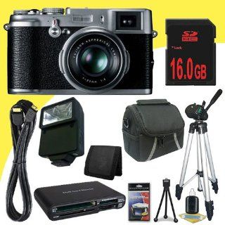 Fujifilm X10 12 MP EXR CMOS Digital Camera + 16GB SDHC Class 10 Memory Card + Mini HDMI Cable + Carrying Case + Full Size Tripod + External Flash + Multi Card USB Reader + Memory Card Wallet + Deluxe Starter Kit DavisMAX Bundle Kit  Camera And Video Acces