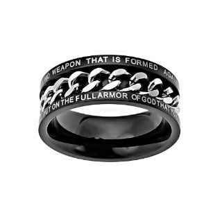 "Christian Mens Stainless Steel Abstinence Isaiah 5417 / Ephesians 611 ""No Weapon That is Formed Against You Shall Prosper; Put on the Full Armor of God That You May be Able to Stand Firm Against the Schemes fo the Devil"" Chastity Black & Si"