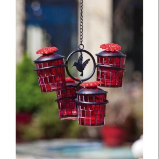 16.5 3 Piece Red Glass Mosaic Hummingbird Feeder with Decorative Hummingbird Landscape & Garden Decor