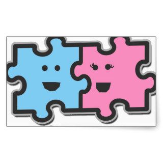 We Fit Together Puzzle Pieces Rectangular Stickers