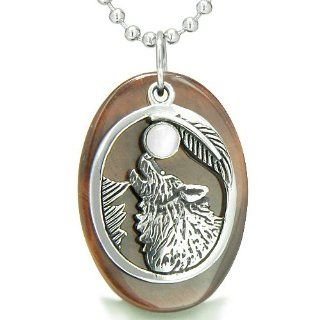 "Amulet Courage Howling Wolf and Moon Lucky Charm in Red Tiger Eye White Cats Eye Gemstones Pendant 22"" Stainless Steel Necklace Jewelry"