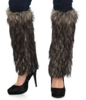 EH3231WL   Two Tone Faux Fur Leg Warmers / Boot Covers / Boot Sleeves ( 3 Colors )   White/One Size
