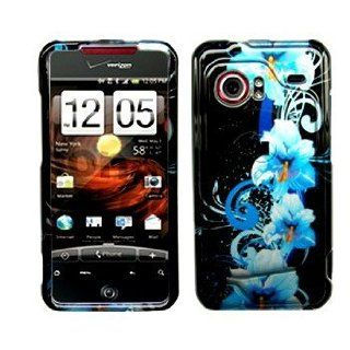 HTC Droid Incredible Cell Phone Blue Flower Protective Case Faceplate Cover Cell Phones & Accessories