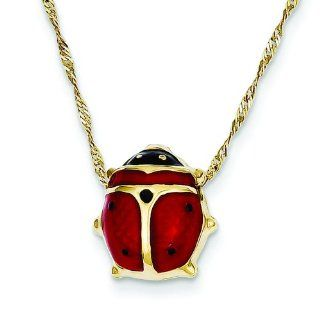 14K Yellow Gold Enameled Ladybug Necklace Jewelry 13mm Charms Jewelry