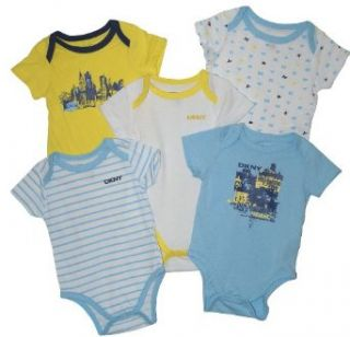 DKNY Baby Boys' 5pc Short Sleeve Bodysuits  (3 6 Mos) Light Blue and Yellow Infant And Toddler Bodysuits Clothing